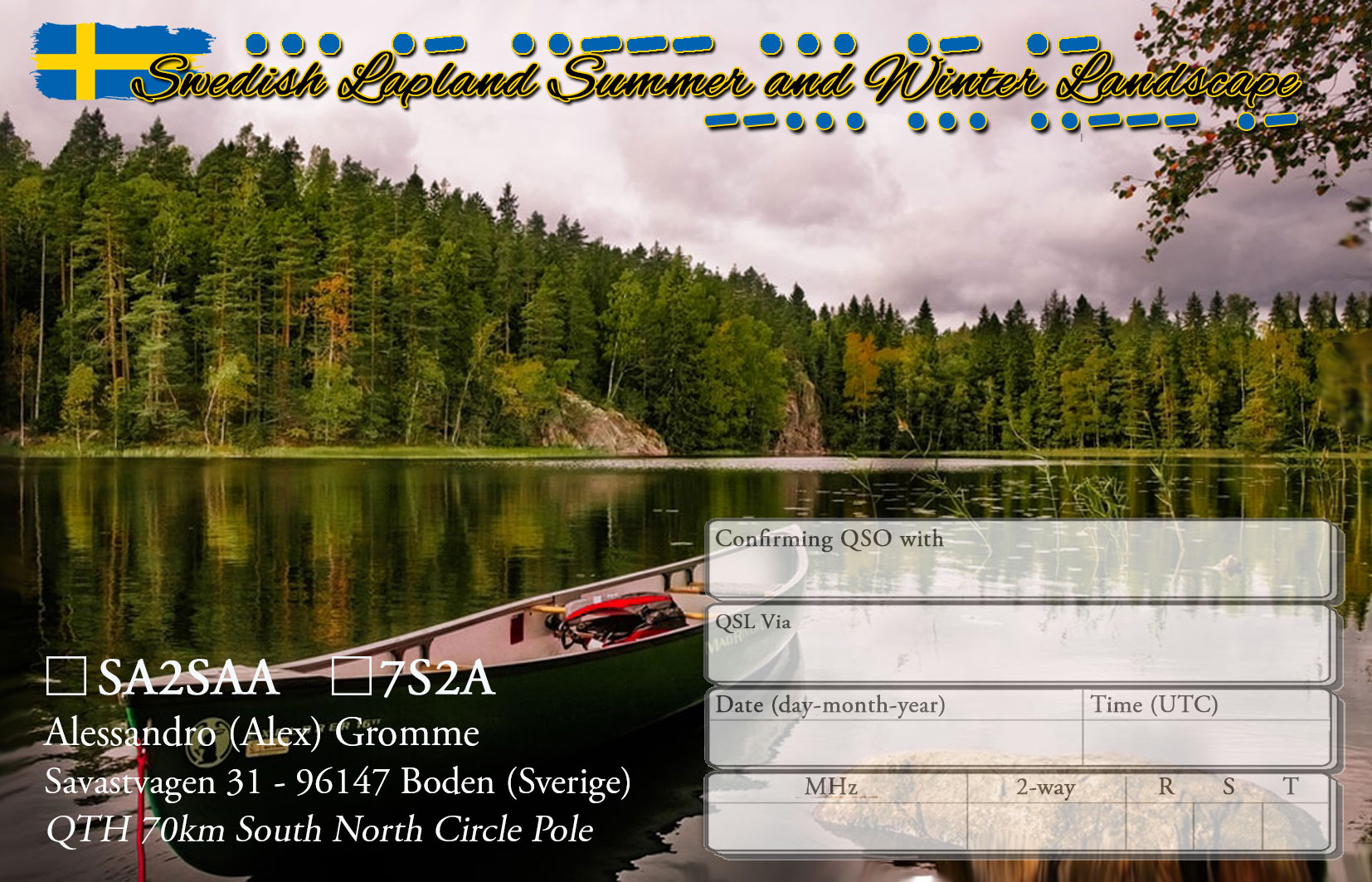 SA2SAA / 7S2A - Final QSL design (rear)